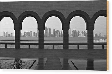 Doha Skyline From Museum Wood Print by Gregory T. Smith