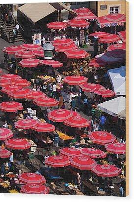 Dolac Market Umbrellas Wood Print by Rae Tucker