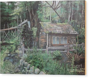 Dolby Water Wheel Wood Print by Terri Thompson