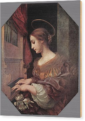 Dolci Carlo St Cecilia At The Organ Wood Print