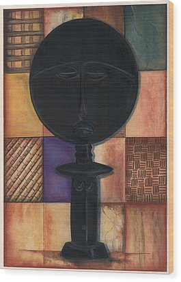 Wood Print featuring the mixed media Doll II by Anthony Burks Sr
