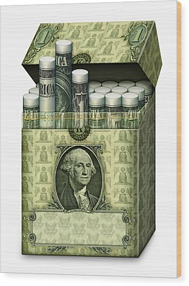 Dollar Cigarettes Wood Print by James Larkin