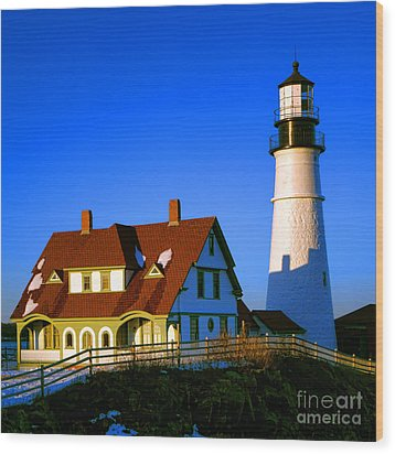 Wood Print featuring the photograph Dollhouse Portland Head Light by Olivier Le Queinec