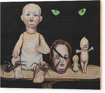 Dolls And Spiders Wood Print