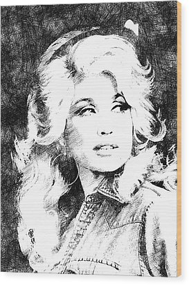 Dolly Parton Bw Portrait Wood Print by Mihaela Pater