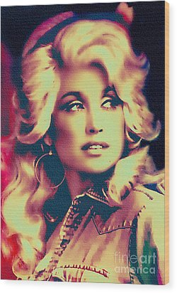 Dolly Parton - Vintage Painting Wood Print