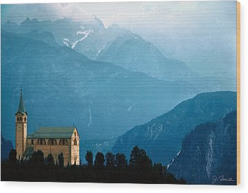 Dolomite Church Wood Print