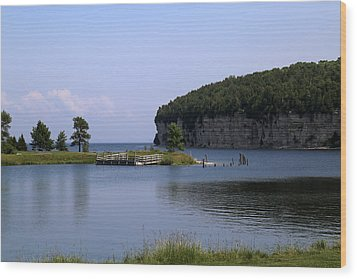 Dolomite Cliffs Fayette State Park Wood Print by Mary Bedy