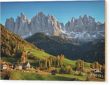 Dolomite Village In Autumn Wood Print