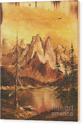 Wood Print featuring the painting Dolomiti by Sorin Apostolescu