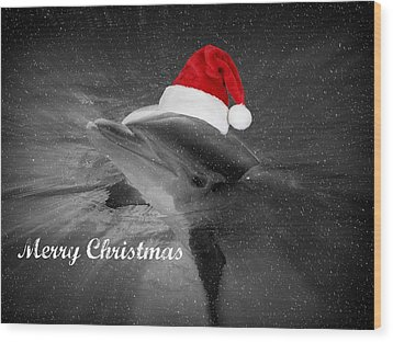 Dolphin Christmas Wood Print