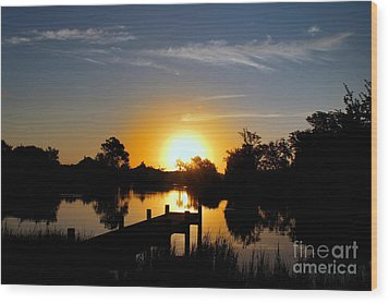 Dolphin Cove Sunrise Wood Print by Benanne Stiens