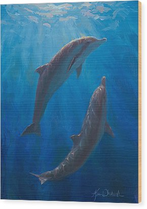 Wood Print featuring the painting Dolphin Dance - Underwater Whales by Karen Whitworth