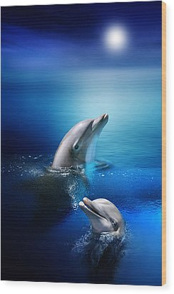 Dolphin Delight Wood Print by Julie L Hoddinott