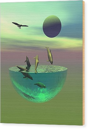 Dolphin Heaven Wood Print by Claude McCoy