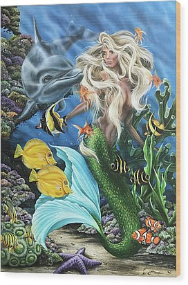 Dolphin Mermaid Wood Print