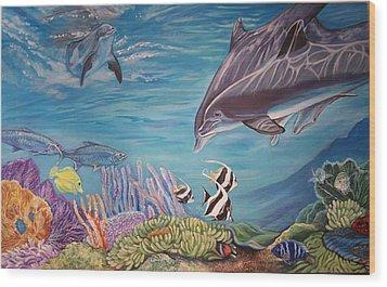Dolphin Pod Wood Print by Diann Baggett