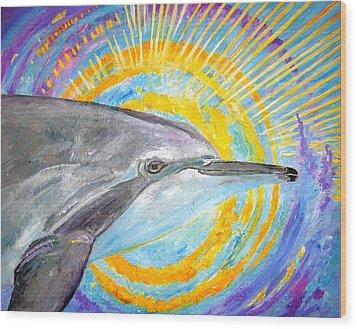Dolphin Ray Wood Print by Tamara Tavernier