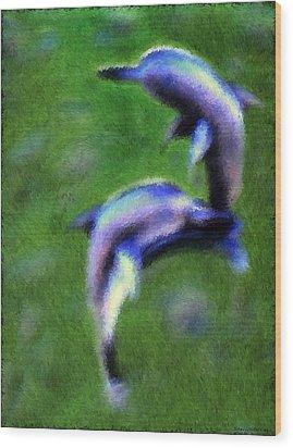 Dolphin Rhapsody Wood Print by Shelly Stallings