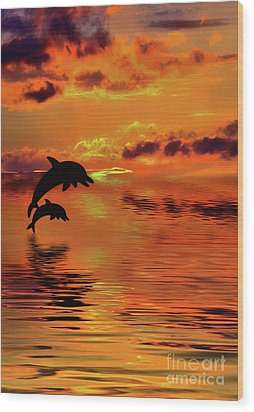 Wood Print featuring the digital art Dolphin Silhouette Sunset By Kaye Menner by Kaye Menner