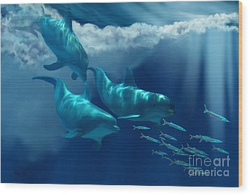 Dolphin World Wood Print by Corey Ford