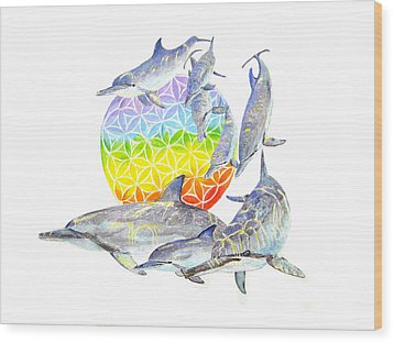 Dolphins-flower Of Life2 Wood Print by Tamara Tavernier