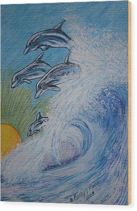 Dolphins Jumping In The Waves Wood Print by Kathy Marrs Chandler