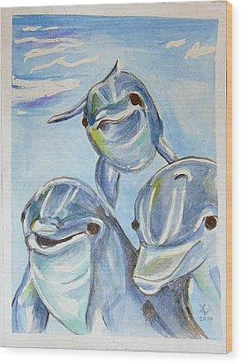 Dolphins Wood Print by Loretta Nash