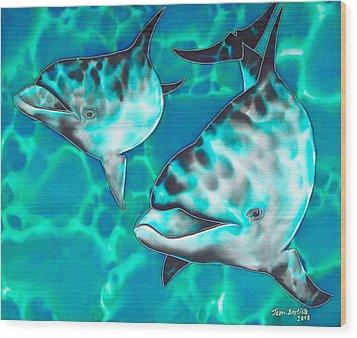 Dolphins Of Sanne Bay Wood Print by Daniel Jean-Baptiste