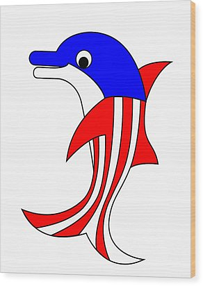 Dolphy The American Dolphin Wood Print by Asbjorn Lonvig