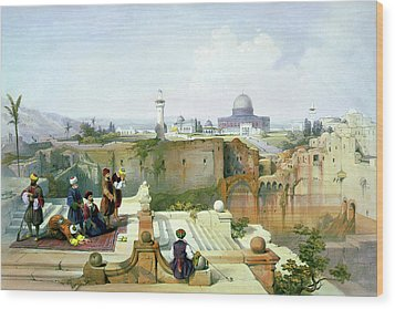 Dome Of The Rock In The Background Wood Print
