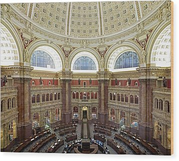 Domed Main Reading Room Wood Print by Everett