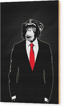 Domesticated Monkey Wood Print by Nicklas Gustafsson
