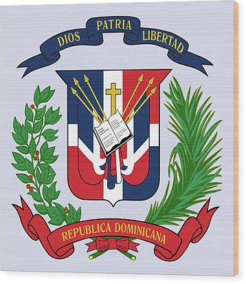 Wood Print featuring the drawing Dominican Republic Coat Of Arms by Movie Poster Prints