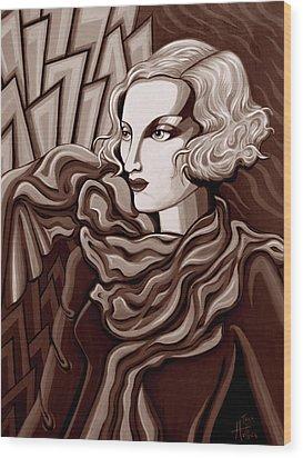 Dominique In Sepia Tone Wood Print by Tara Hutton