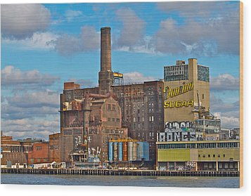 Domino Sugar Water View Wood Print by Alice Gipson
