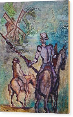 Don Quixote With Dragon Wood Print