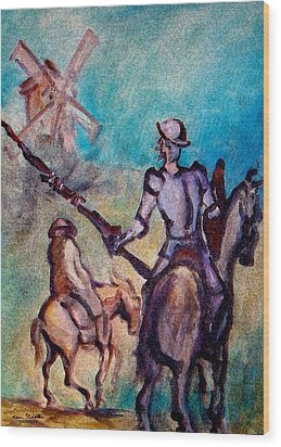 Don Quixote With Windmill Wood Print