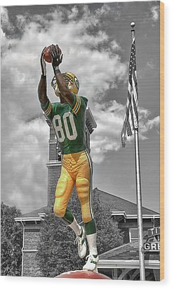 Wood Print featuring the photograph Donald Driver Statue by Joel Witmeyer