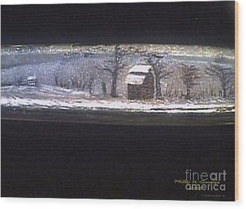 Donee Tobacco Barn In Winter  Wood Print by Phillip H George