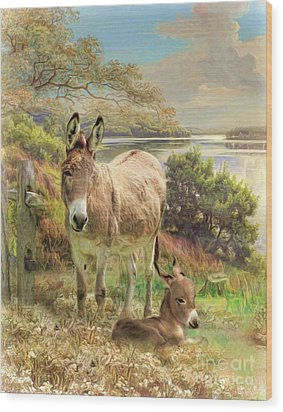 Wood Print featuring the digital art  Donkey And Foal by Trudi Simmonds