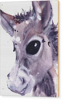 Wood Print featuring the painting Donkey by Dawn Derman