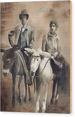 Donkey Ride Wood Print by Arline Wagner