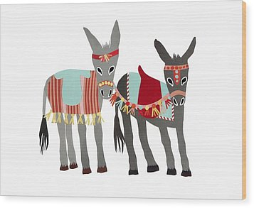 Donkeys Wood Print by Isoebl Barber