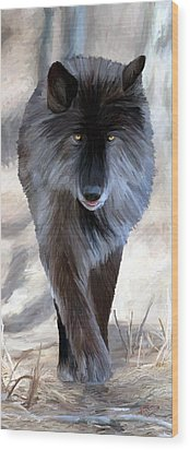 Wood Print featuring the painting Gray Wolf Treading Carefully by James Shepherd