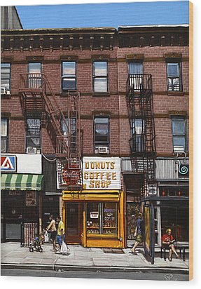 Donut Shop Wood Print by Ted Papoulas