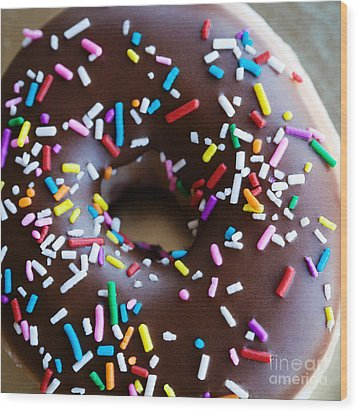 Donut With Sprinkles Wood Print