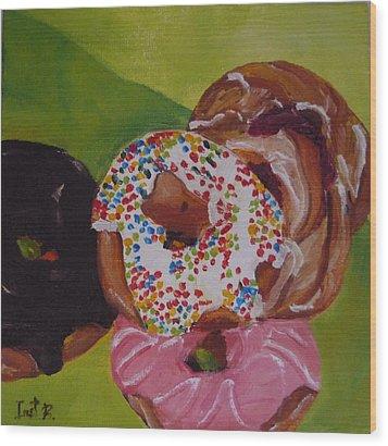 Donuts And Danish Wood Print by Irit Bourla