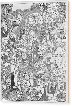 Wood Print featuring the drawing Doodle Art 1987 by Steve  Hester