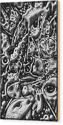 Wood Print featuring the digital art Doodle Emboss by Darren Cannell